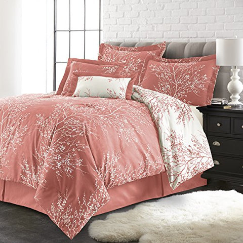 Spirit Linen, Inc Hotel 5Th Ave Plush Reversible 6 Piece Comforter Set, Queen, Coral/White