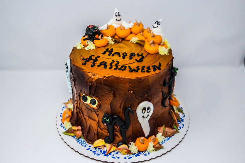 Halloween Decorated Stump Cake