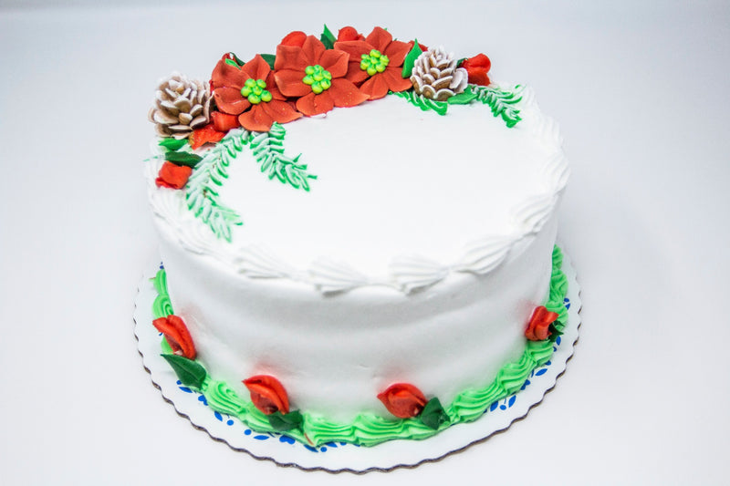 Poinsettia Decorated Cake