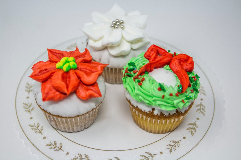 White Dipped Christmas Cupcakes