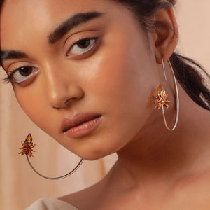 Lotus blooms ear hoops