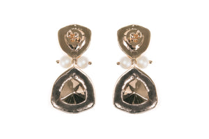 Magnificent white enamel earrings