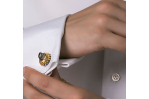 Black and gold falcon cufflinks