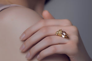 Glide gold falcon ring