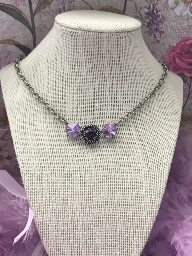 Violet and Amethyst Crystal Necklace using Swarovski Crystal Elements 22a78e717ea8