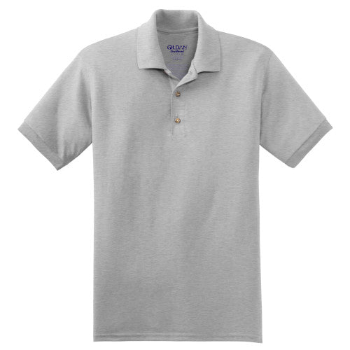 Ash Grey Jersey Knit Polo Shirt With Logo