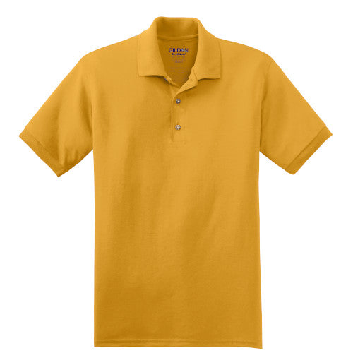 Gold Jersey Knit Polo Shirt With Logo