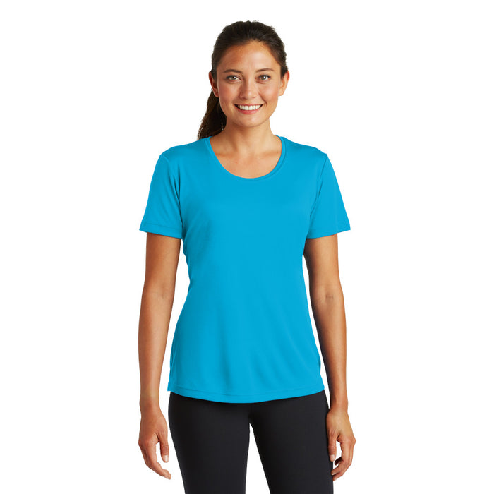 Atomic Blue Custom Ladies Dry Performance T-Shirt with logo