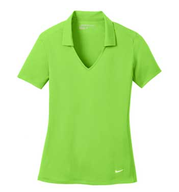 Action Green Nike Ladies Dri-FIT Vertical Mesh Polo With Logo