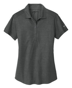 Anthracite/Black Nike Ladies Dri-FIT Crosshatch Polo With Logo