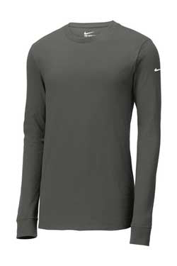 Anthracite Custom Nike Cotton Long Sleeve Tee