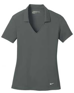 Anthracite Nike Ladies Dri-FIT Vertical Mesh Polo With Logo