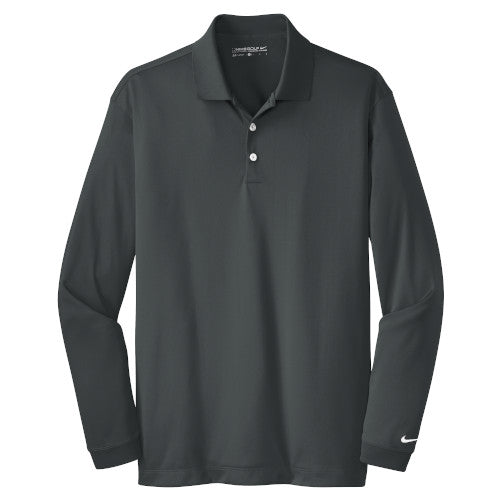 Anthracite Nike Dri-FIT Long Sleeve Golf Shirt WIth Logo