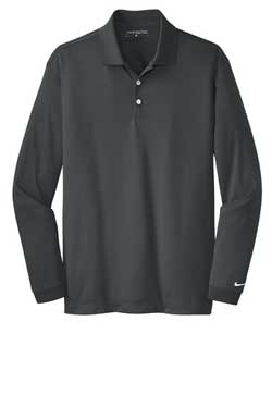 Anthracite Nike Long Sleeve Dri-FIT Stretch Tech Polo With Logo