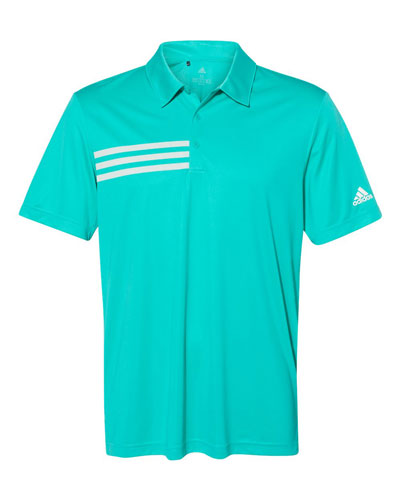 Aqua Custom Adidas Chest Stripe Polo