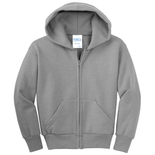 Athletic Heather Custom Youth Full Zip Hooded Sweatshirt