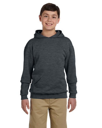 Black Heather Custom Jerzees Youth Hooded Sweatshirt