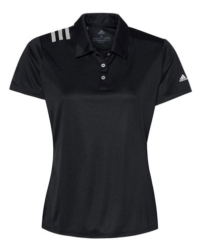 Black Custom Adidas Womens 3 Stripe Polo