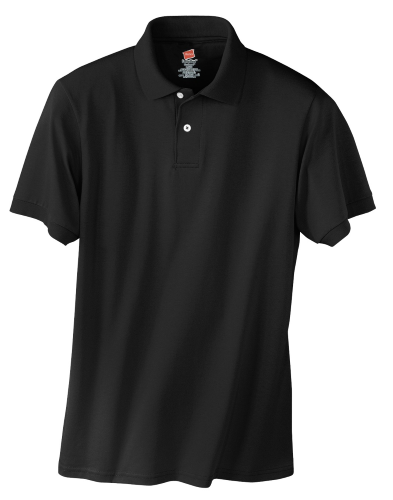 Black Hanes Jersey Knit Polo With Logo