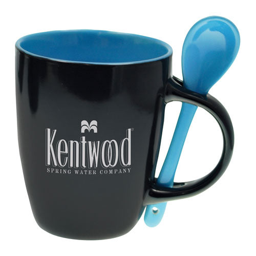 Black and Blue Custom Spoon Coffee Mug