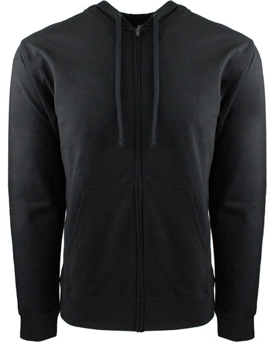 Black/ Black Custom Next Level Adult French Terry Full-Zip Hooded Sweatshirt