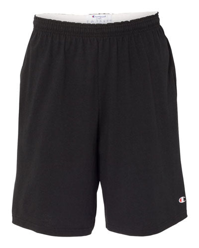 "Black Custom Champion Cotton Jersey 9"" Shorts with Pockets"