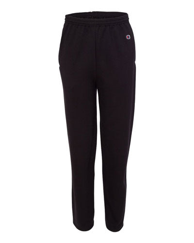 Black Custom Champion Double Dry Eco Open Bottom Sweatpants with Pockets