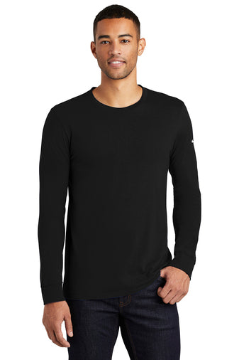 Black Custom Nike Cotton Long Sleeve Tee with logo