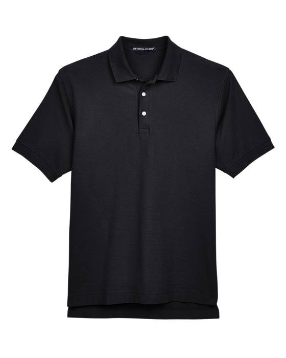 Black Custom Devon & Jones Pima Pique Polo With Logo
