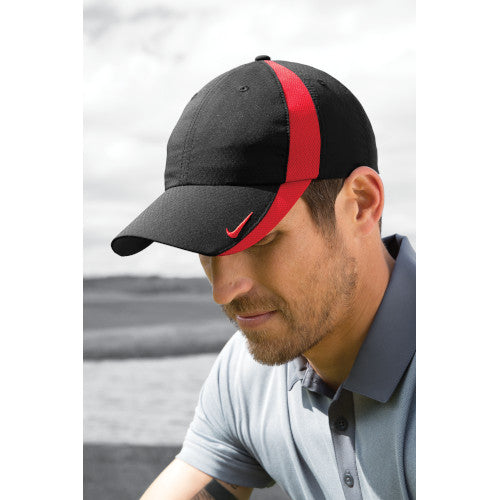 Black/Gym Red Custom Nike Golf Hat with logo