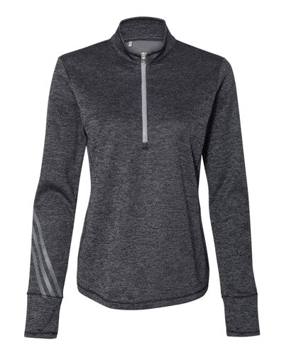 Black Heather/ Mid Grey Custom Adidas - Women's Brushed Terry Heather Quarter Zip Pullover