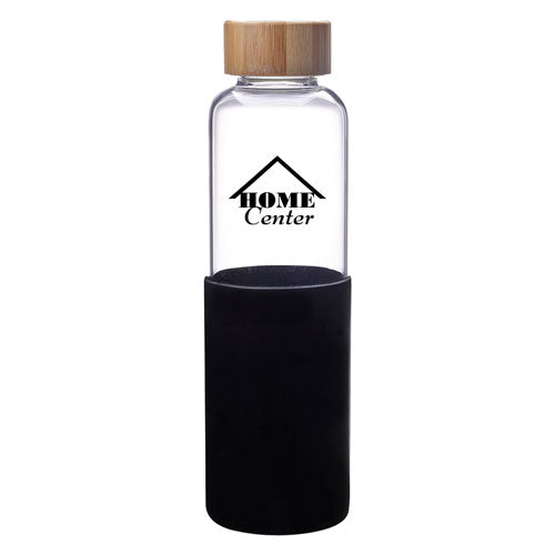 Black Custom Modern Glass Water Bottle