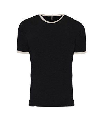 Black/ Natural Custom Next Level Unisex Ringer T-Shirt