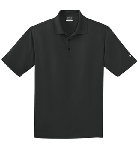 Black Nike Dri-FIT Micro Pique Polo With Logo