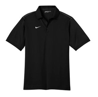 Black Nike Dri-FIT Sport Swoosh Pique Polo With Logo