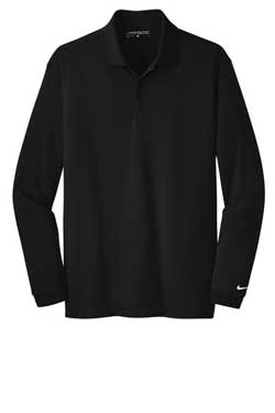 Black Nike Long Sleeve Dri-FIT Stretch Tech Polo With Logo