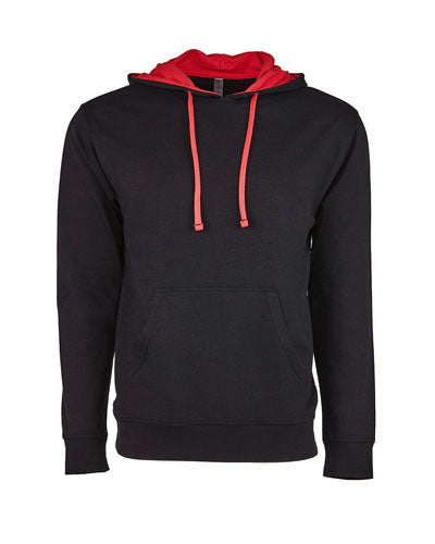 Black/ Red Custom Next Level Unisex French Terry Pullover Hoody