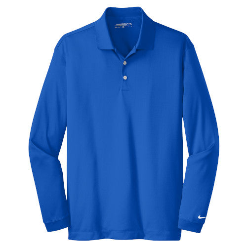 Blue Sapphire Nike Dri-FIT Long Sleeve Golf Shirt WIth Logo