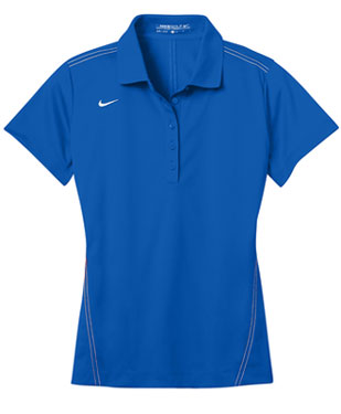 Blue Sapphire Nike Dri-FIT Ladies Sport Swoosh Pique Polo With Logo