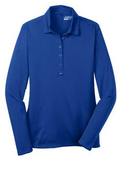 Blue Sapphire Nike Ladies Long Sleeve Dri-FIT Stretch Tech Polo With Logo