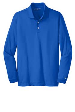 Blue Sapphire Nike Long Sleeve Dri-FIT Stretch Tech Polo With Logo