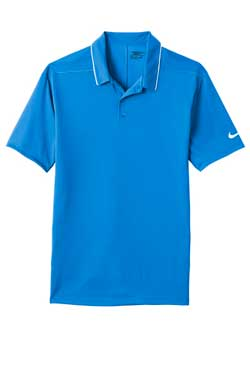 Blue Sapphire/White Nike Dri-FIT Edge Tipped Polo With Logo