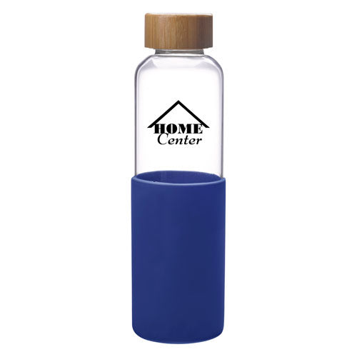 Blue Custom Modern Glass Water Bottle