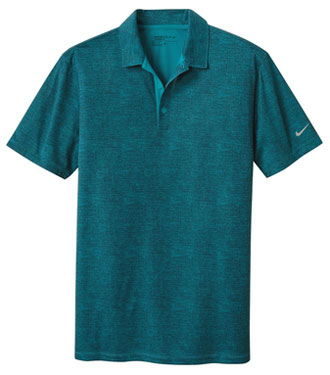 Blustery/Navy Nike Dri-FIT Crosshatch Polo With Logo