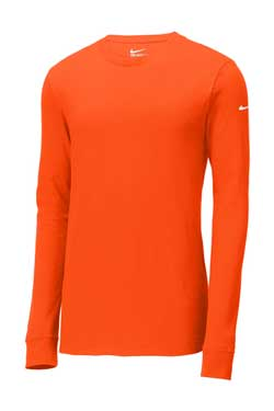 Brilliant Orange Custom Nike Cotton Long Sleeve Tee