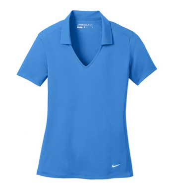 Brisk Blue Nike Ladies Dri-FIT Vertical Mesh Polo With Logo