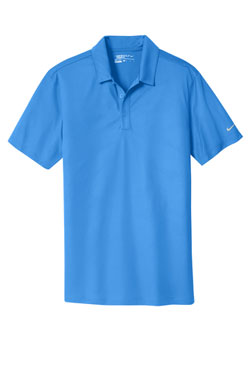 Brisk BLue Nike Dri-FIT Embossed Tri-Blade Polo With Logo