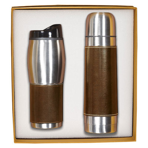 Brown Custom Leather Wrapped Thermos Gift Set