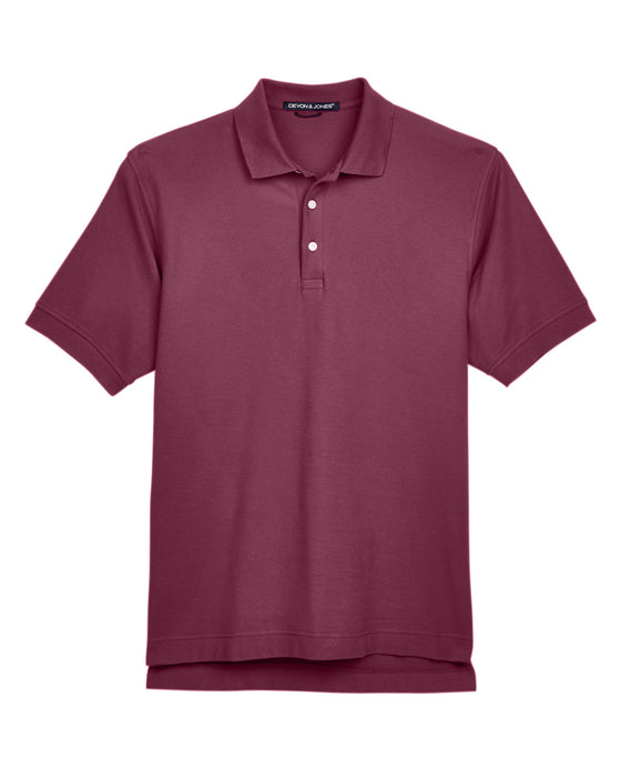Burgundy Devon & Jones Pima Pique Polo With Logo