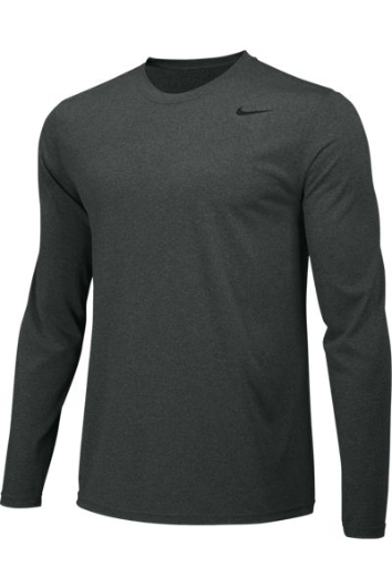 Carbon Heather Custom Nike Dri-FIT Long Sleeve T-Shirt